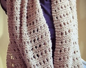 Beige Hand Knit Wide Scarf, Shawl, Cowl, Soft, Warm - Made by Memere