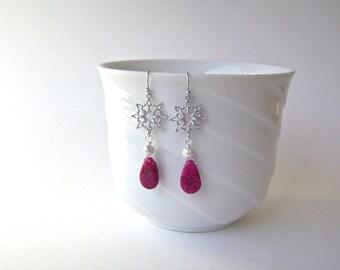Ruby Quartz Earrings, Snowflake Earrings, Gemstone Jewelry, Silver Earrings, Red Earrings, Holidays, Winter, Raspberry, Snow, 627