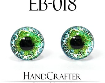 1 pairs - 12mm Handmade glass eyes Human Eyes Monster Eyes Glass Cabochons EB-018 NO WASHER