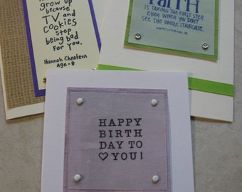 purple, green and brown papers birthday card set of three blank on the inside cards