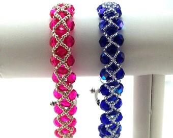 Pink or Blue Woven Bracelet w/ Silver Criss-Cross Pattern, Woven Bracelet, Unique Bracelet, Colorful Bracelet, Handmade with Czech Beads