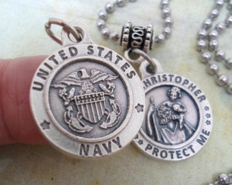 Navy Protection Necklace, St. Christopher, Mens Protect Me Holy Medal, Catholic Jewelry