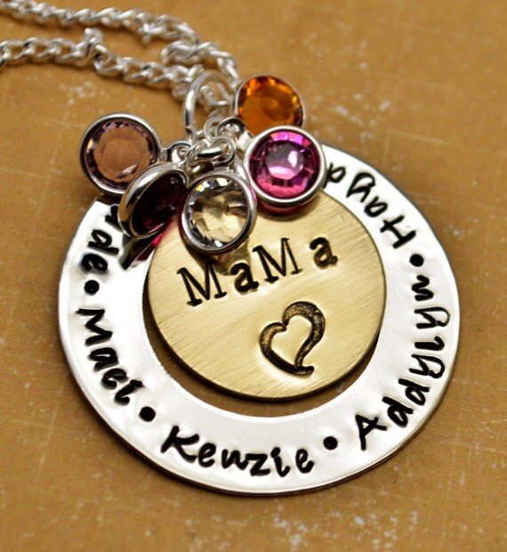 Personalized Mommy Necklace, Hand Stamped Jewelry, Custom Neckace, Mother's Day, Mother, Birthstone, Washer Necklace