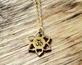 Om Lotus Bronze Charm on 14K Gold Filled Necklace