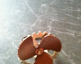 Silver Gear and Copper Propeller Steampunk Ring