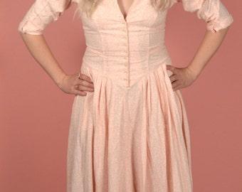 Vintage 80s adorable baby pink prairie dress