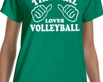 volleyball shirt this girls loves volleyball womens t shirt friend gift idea for athletic sports group team beach volleyball lover - Volleyball T Shirt Design Ideas