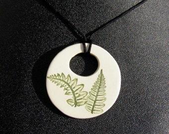 Fern leaf pendant, Pressed Plant Pottery, adjustable cord