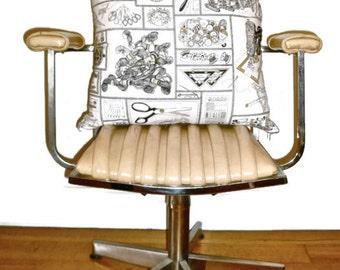 Antique Sewing Print Pillow Cover : European Cushion Vintage Machine Craft Lover Gift Idea Fashion Designer Mannequin Dress Form Black White