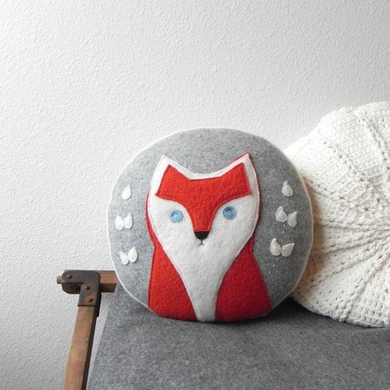 a Fox : READY TO SHIP round cameo cushion, fox pillow