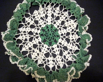 Green and White Lace Doily Crochet, Delicate, Elegant Overlay, Ruffle Petals