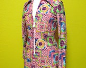 Moving SALE----Psychedelic Printed Neon 70s Tunic with Front Zipper------XS, S