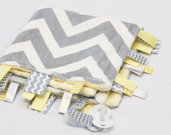 Baby Ribbon Tag Blanket - Minky Binky Blankie - Grey and White Chevron with Yellow
