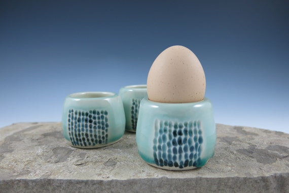 Clearance Sale Ceramic Porcelain Egg Cup in Aqua Blue Green