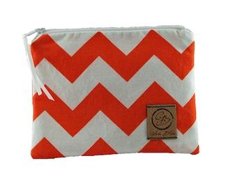 Snack Size Reusable Bag - Orange and White Chevron Stripe