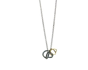 Gyroscope necklace - 18 karat gold and oxidized silver - recycled gold and silver