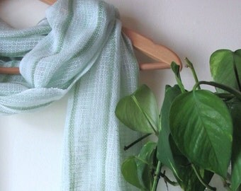 Green & White Artisan Woven Cotton Lacy Light Spring Summer Fall Scarf, French Parisian Chic, Country Club Casual Urban Womens Fashion Scarf