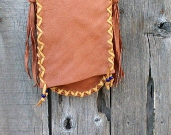 Handmade leather purse , Buckskin crossbody handbag
