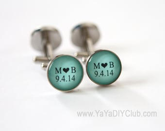 Mint Green Wedding Gift Grooms Gift, Mint green wedding favors Groomsmen Gift, Personalized Wedding Cufflinks Custom Color STAINLESS STEEL
