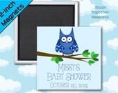 Blue Owl Baby Shower Favor Magnets - 2 Inch Squares - Set of 10 Magnets