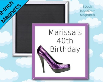 Purple Stiletto Birthday Favor Magnets - 2 Inch Squares - Set of 10 Magnets