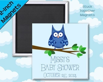 Blue Owl Baby Shower Favor Magnets - 2 Inch Squares - Set of 10 Magnets