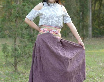 100 percent bleech Stone wash cotton maxi skirt for Women Purple SALE