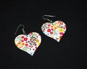 Vintage Calico Print Heart Shape Earrings - Large Valentine Hearts - Mod 1970's - Enamel on Metal - Flower Power - Pierced Wires