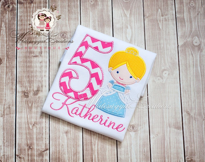 Princess as Cinderella Birthday Shirt - PREMIUM Custom Birthday Outfit - First Birthday Princess Party