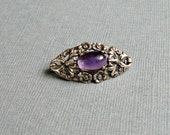 Silver Floral Pin Amethyst Glass Germany