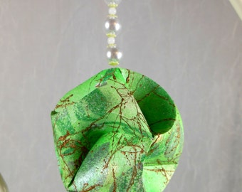 Christmas Ornament Mistletoe Green and White Pearl Origami Paper Sculpture OOAK - Gift Boxed