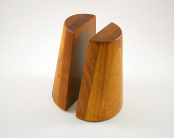 Pair of Modernist Stacked Walnut Bookends