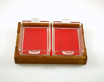 Teak Divided Serving Tray with Glass Inserts and Black and Red Melamine