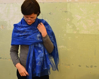 Indigo Scarf   Indigo Shawl   Indigo Blue Felted Scarf   Gift For Her   Unique Gift For Women   Turquoise Shawl   Silk Chiffon Wool Scarf