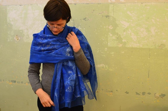 Nuno felted scarf, blue shawl, Nuno felted scarf, felted silk scarf, silk wool scarf