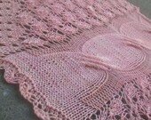 Petal Pink Angel Braids Triangular Merino Wool Hand Knit Lace and Cables Shawlette or Scarf
