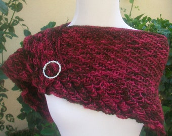 Clearance Priced Red and Brown The Strand Merino Wool Hand Knitted Reversible Scarf or Shawlette
