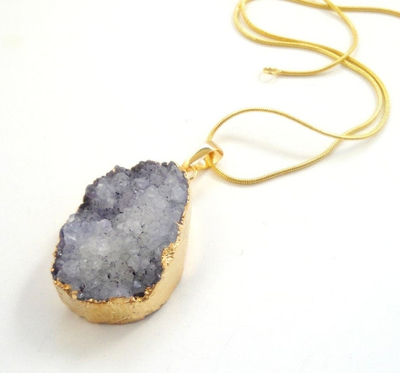 Purple Gold Druzy Pendant, Crystal Drusy Agate  Edged in Gold Teardrop,  Druzy Jewelry, Jewelry Making, Select With//Without Chain