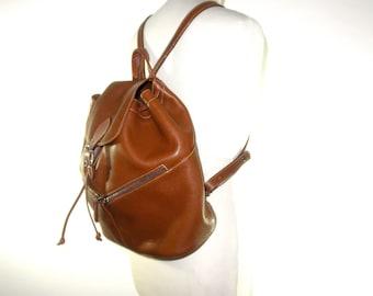LONGCHAMP Pebble Grain Cognac Leather Bucket Backpack // Leather Purse // Shoulder Bag