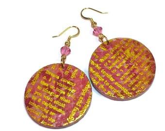 Pink Earrings, Wish, Dream, Etsy Jewelry
