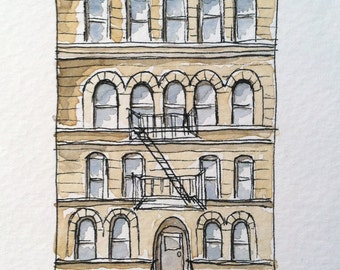 Brooklyn Historic Brownstone Pen and Ink Drawing-Watercolor Painting Print-  architectural artwork