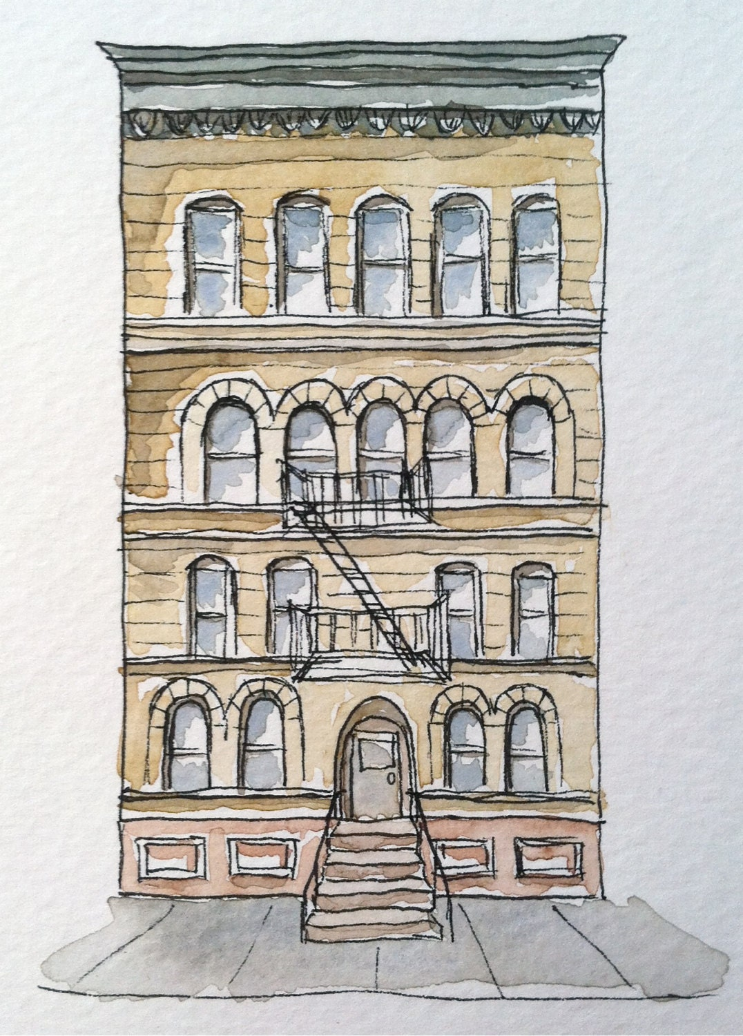 Brooklyn Historic Brownstone Pen And Ink Drawing Watercolor