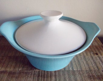 Vintage Shawnee Pottery Robins Egg Blue and White Covered Casserole Serving Dish