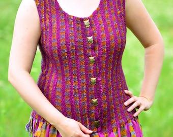 OOAK Felted Bohemian Vest. Gypsy Tunic. OOAK Seamless Felt Vest. Boho Style. LARP. Ready to Ship.