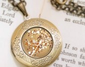 Golden Blossoms Locket - Bronze Necklace - Vintage Cherry Blossoms Pendant - Carefree Days (gold) - Wearable Art with Bronze Chain