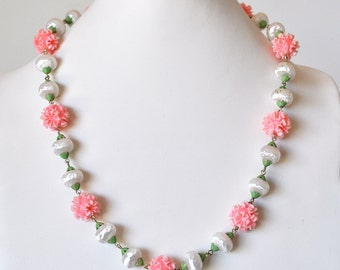 Pink and White Flower Necklace