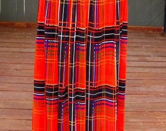 Vintage 70's – Gorgeous Pleated Plaid Maxi Skirt