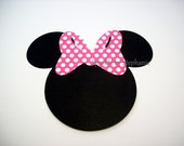 """Minnie Mouse Head Die Cuts with Bow of your choice - Set of 12+ - 4"""" - other sizes available"""