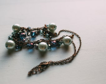 Chunky bridesmaid necklace - Indigo, violet and mint pearl