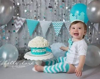 Banner, Bunting, Fabric Pennant Flags, Baby Nursery Decor, Wedding, Birthday Party, Aqua Blue, Grey, Chevron, Polka Dot, Baby Shower Garland